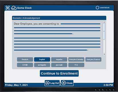 The image is text-based example of the UniFocus Biometric Attendance System Employee Consent form. The before using the biometric time clock, the employee can choose their language, consent and continue enrollment.