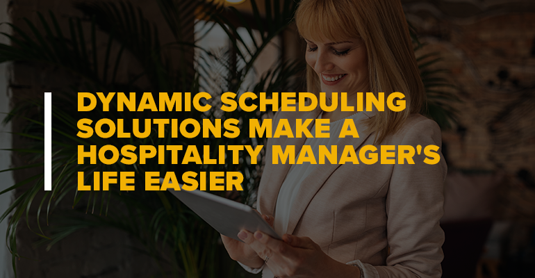Woman Looking At Survey With Text Dynamic Scheduling Solutions Make a Hospitality Manager's Life Easier