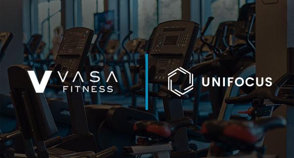 Weight Room With VASA Fitness Logo and UniFocus Logo