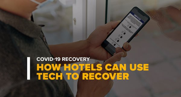 Man Looking at a Phone WFM System With Text: Covid-19 Recovery How Hotels Can Use Tech to Recover